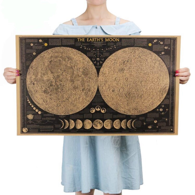 Vintage Moon Map Poster - The Room Bloom