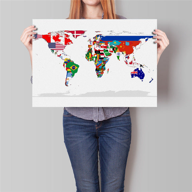 World Map Flag Poster - The Room Bloom