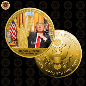 WR 1 Pc Gold President US Donald Trump Gold Plated Coin USA Trump Tower The Statue of Liberty Collection Business Gift - magashoponline