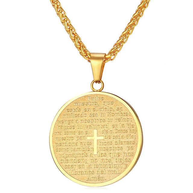 U7 Spanish Bible Cross Necklaces & Pendants Gold Color Stainless Steel Round Holy Scripture Trump Medal For Women/Men Gift P809 - magashoponline