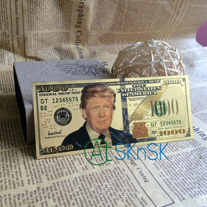 10pcs/lot Donald Trump US Dollar Gold Banknote Set 24k Gold Plated 1000 USD Banknotes Gold Foil Bill - magashoponline