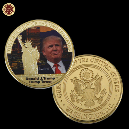 WR 1 Pc Gold President US Donald Trump Gold Plated Coin USA Trump Tower The Statue of Liberty Collection Business Gift
