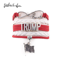 Little Minglou Infinity Love American presidential election TRUMP bracelet flag charm bracelets & bangles for women men jewelry