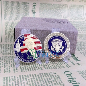 1pcs Newest Gold/Silver Plated Coin Medal Unite States Flag President Donald Trump Eagle Coin - magashoponline