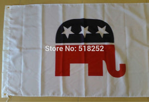 Republican Party Elephan Flag 3x5 FT 150X90CM Banner 100D Polyester Custom flag grommets 6038, free shipping - magashoponline