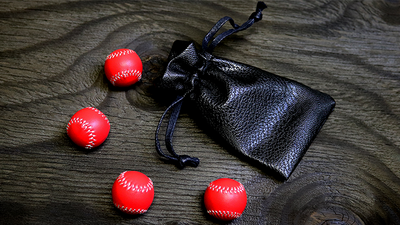 Set of 4 Leather Balls for Cups and Balls (Red) by Leo Smetsers - Trick