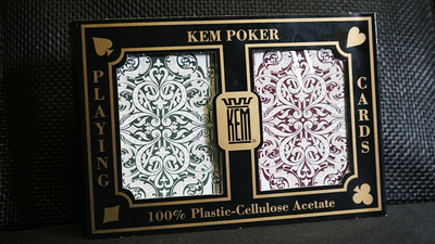 KEM Plastic Playing Cards Jacquard (Purple and Green 2 Deck Set)