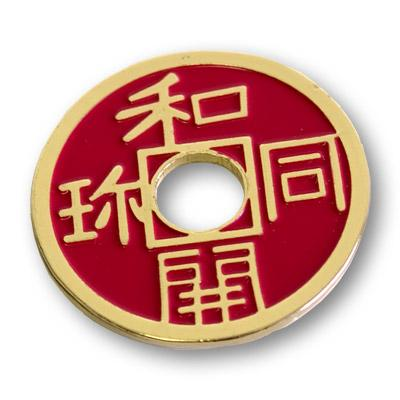 Chinese Coin (Red - Half Dollar Size) by Royal Magic - Trick