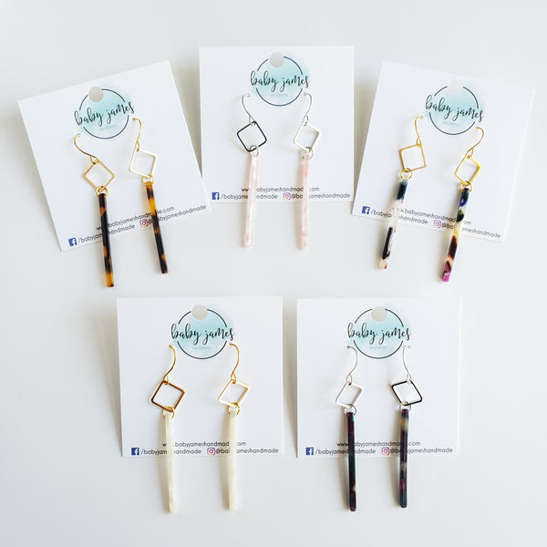 Acrylic Skinny Bar Earrings