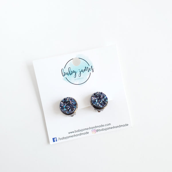 Druzy Stud Clip-On Earrings