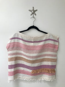 Handwoven - Sunset Stripe Fringe Top