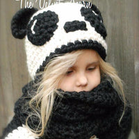 Pure manual weaving a panda hat For Children