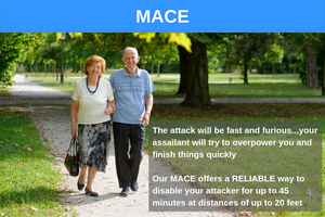The attack will be fast and furious...your assailant will try to overpower you and finish things quickly . MACE offers a RELIABLE way to disable your attacker for up to 45 minutes at distances of up to 20 feet