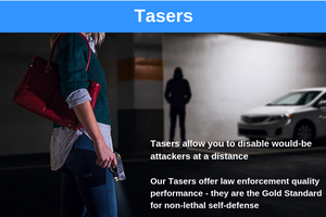 Tasers allow you to disable would-be attackers at a distance. For My Safer World's Tasers offer law enforcement quality performance - they are the Gold Standard for non-lethal self-defense