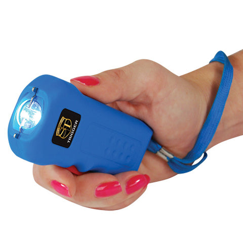 Trigger 18 Million Volt Squeeze-to-Stun Rechargeable Stun Gun with Flashlight - Blue
