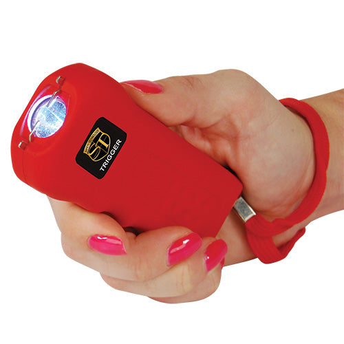 Safety Technology Trigger 18 Million Volt Rechargeable Stun Gun with Flashlight - Red