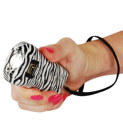 Safety Technology Trigger 18 Million Volt Rechargeable Stun Gun with Flashlight - Zebra