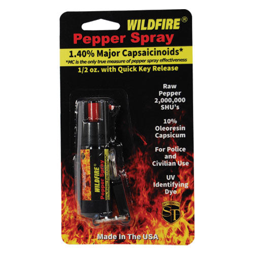 Wildfire® 1.4% MC 1/2 oz Pepper Spray w/Belt Clip and Quick Release Keychain