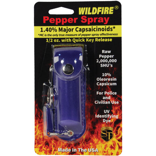 Wildfire® 1.4% MC 1/2 oz Pepper Spray Leatherette Holster - Blue