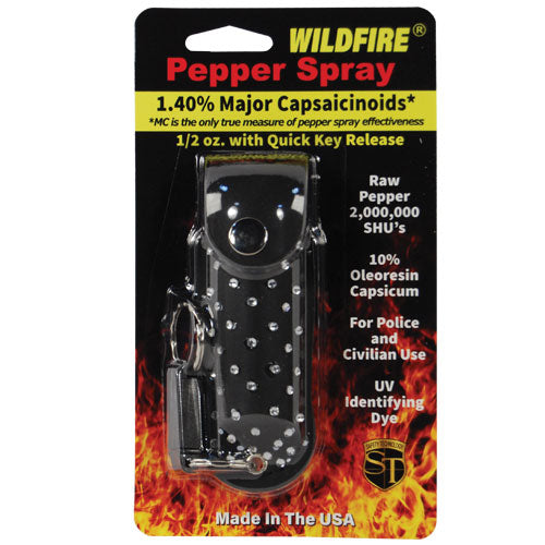Wildfire® 1.4% MC 1/2 oz Pepper Spray Rhinestone Leatherette Holster - Black