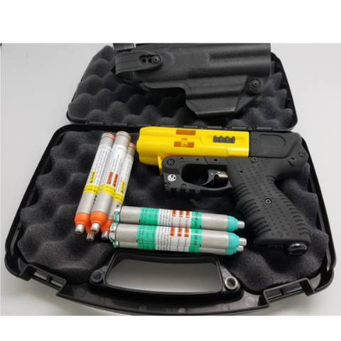 JPX4 LE Defender Yellow Pepper Gun with Laser, 1 x OC and Level 2 Holster