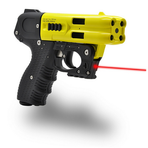 JPX4 4-Shot LE Defender Yellow Pepper Gun with Laser