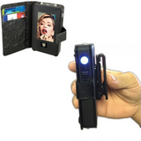 JUSTInCASE Stun Gun includes mirror and clip for attaching to belt or purse strap