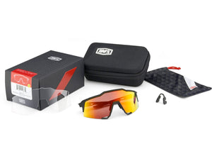 100% Eyewear Speedcraft Off White, with Hiper Red Mirror Lens + Clear Lens, Cycling Sunglasses
