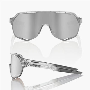 100% S2 Cycling Sunglasses, Shiny Translucent Grey with Hiper Silver Sport Mirror Lens + Clear Lens buy at Woolys Wheels with free delivery