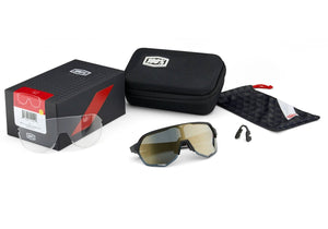 100% S2 Soft Tact Black, Smoke + Clear Lens, Cycling Sunglasses