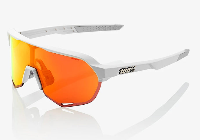 100% Eyewear S2, Soft Tact Off White with - Hyper Red Multilayer Mirror Lens Plus Clear Lens Woolys Wheels