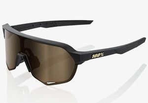 100% S2 Matte Black, Flash Gold Lens Cycling Sunglasses at Woolys Wheels Sydney shop sports eyewear