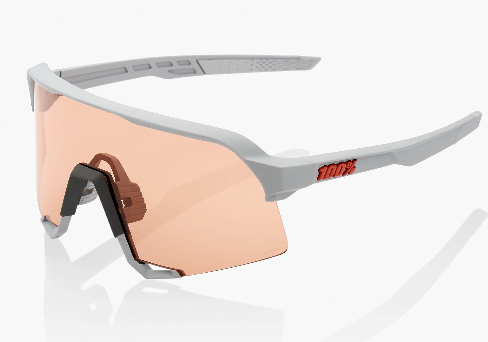 100% Eyewear S3 Soft Tact Stone Grey - Hiper Coral  Lens + Clear Lens
