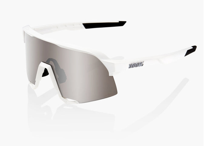 100% Eyewear - S3, White with Hyper Silver Mirror Lens + Clear lens Included buy online at Woolys Wheels Bike Shop Sydney with free delivery