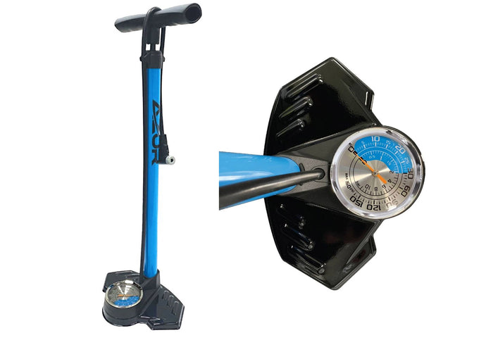 Azur Dual Scale Floor Pump, 160 PSI, Woolys Wheels Sydney