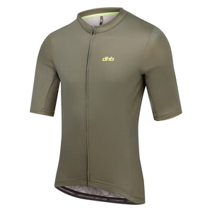 DHB Mens Classic Plain Short Sleeve Cycling Jersey, Khaki buy online from Woolys Wheels