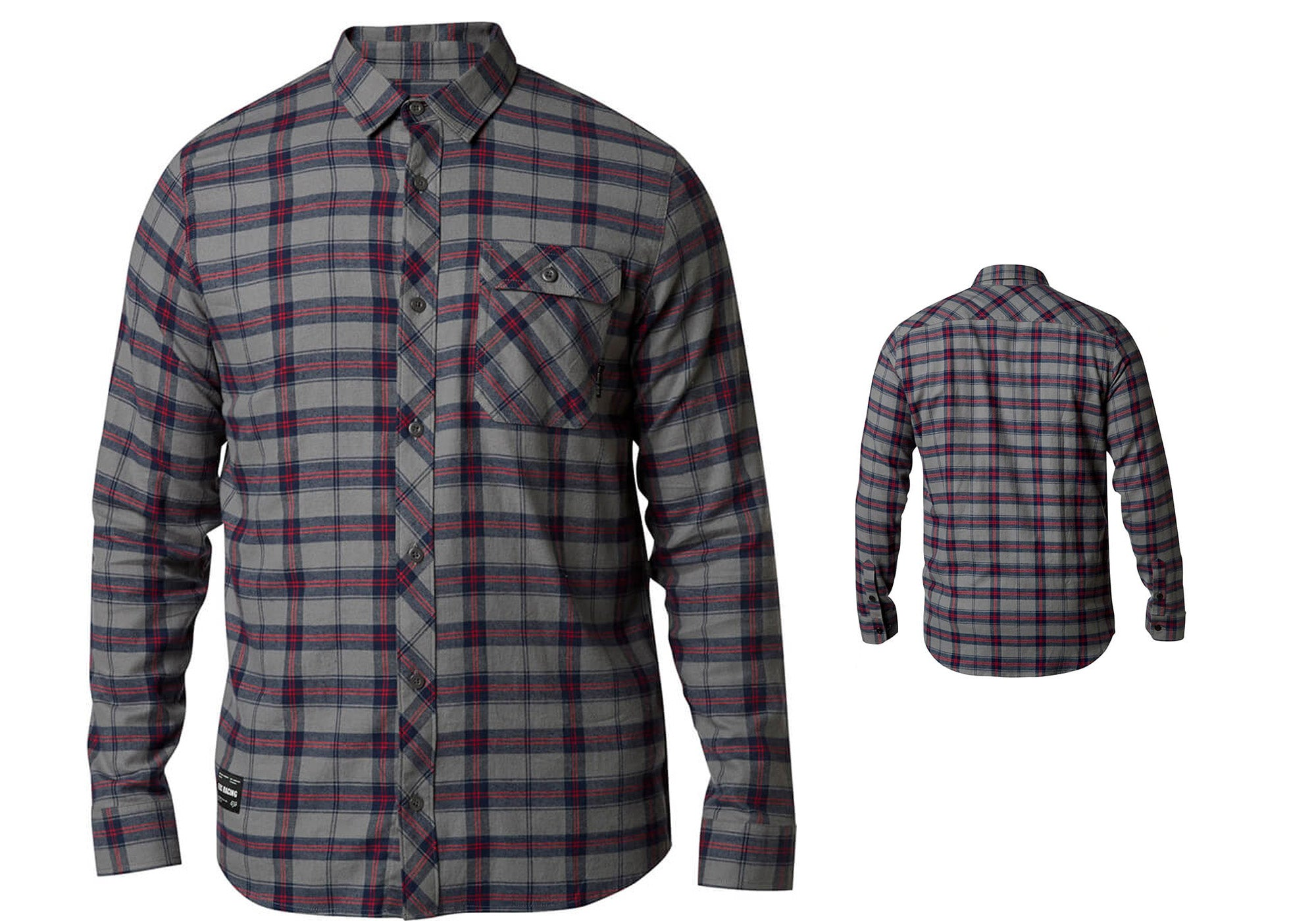 Fox Mens Boedi Long Sleeve Flannel Shirt, Pewter Woolys Wheels