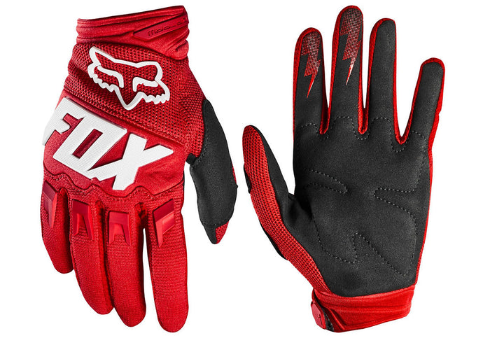 Fox Dirtpaw Race Youth MTB Gloves Red Woolys Wheels
