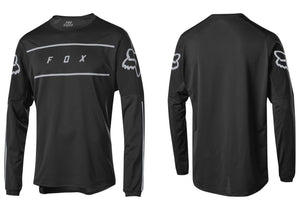 FOX Flexair Fine Line Long Sleeve Mens MTB Jersey, Black Woolys Wheels Sydney