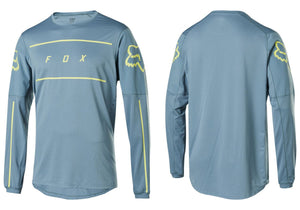 FOX Flexair Fine Line Long Sleeve Mens MTB Jersey, Light Blue Woolys Wheels Sydney