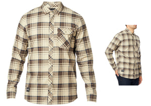 FOX Gamut Stretch Flannel Mens Shirt, Sand Woolys Wheels Sydney