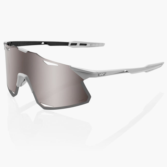 100% Hypercraft Cycling Sunglasses - Matte Stone Grey with Hiper Silver Mirror Lens + Clear Lens, Woolys Wheels