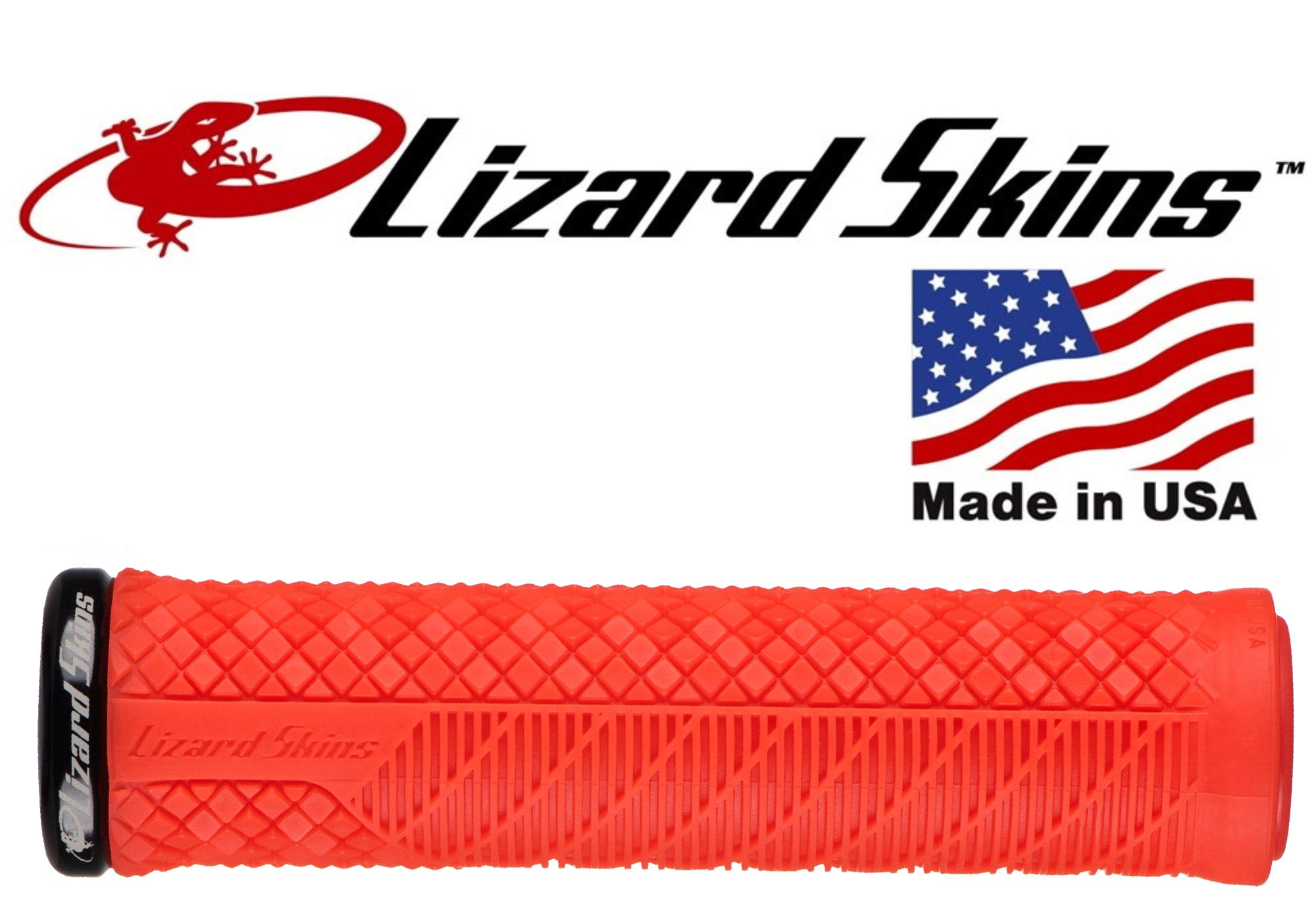Lizard Skins Lock-On Charger Evo MTB Grips - Fire Red, buy now at Woolys Wheels Sydney