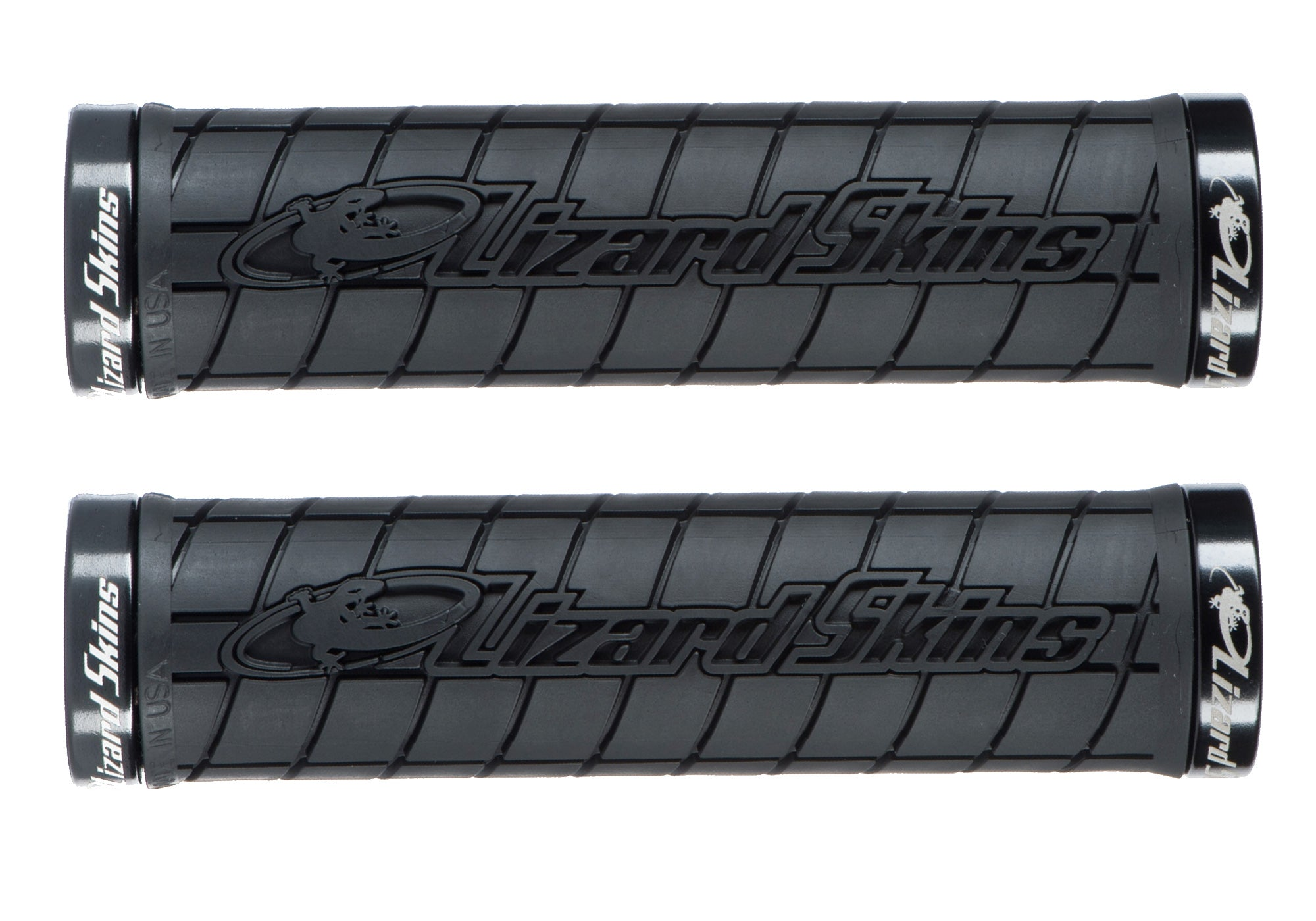 Lizard Skins Logo Lock-On Grips, Black Woolys Wheels Sydney