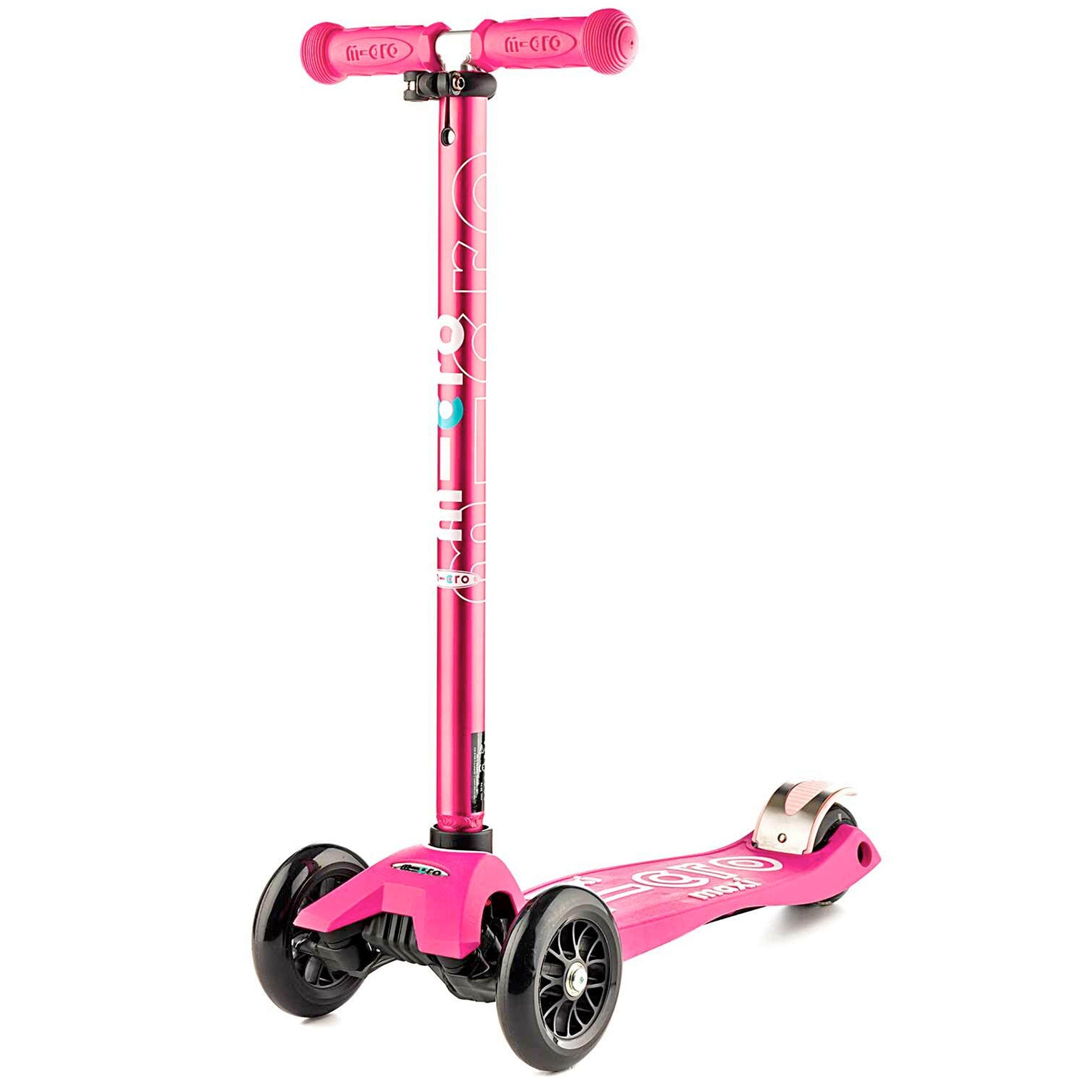 Micro Maxi Deluxe LED Children's Scooter 5-12 Years, Pink, Woolys Wheels Sydney