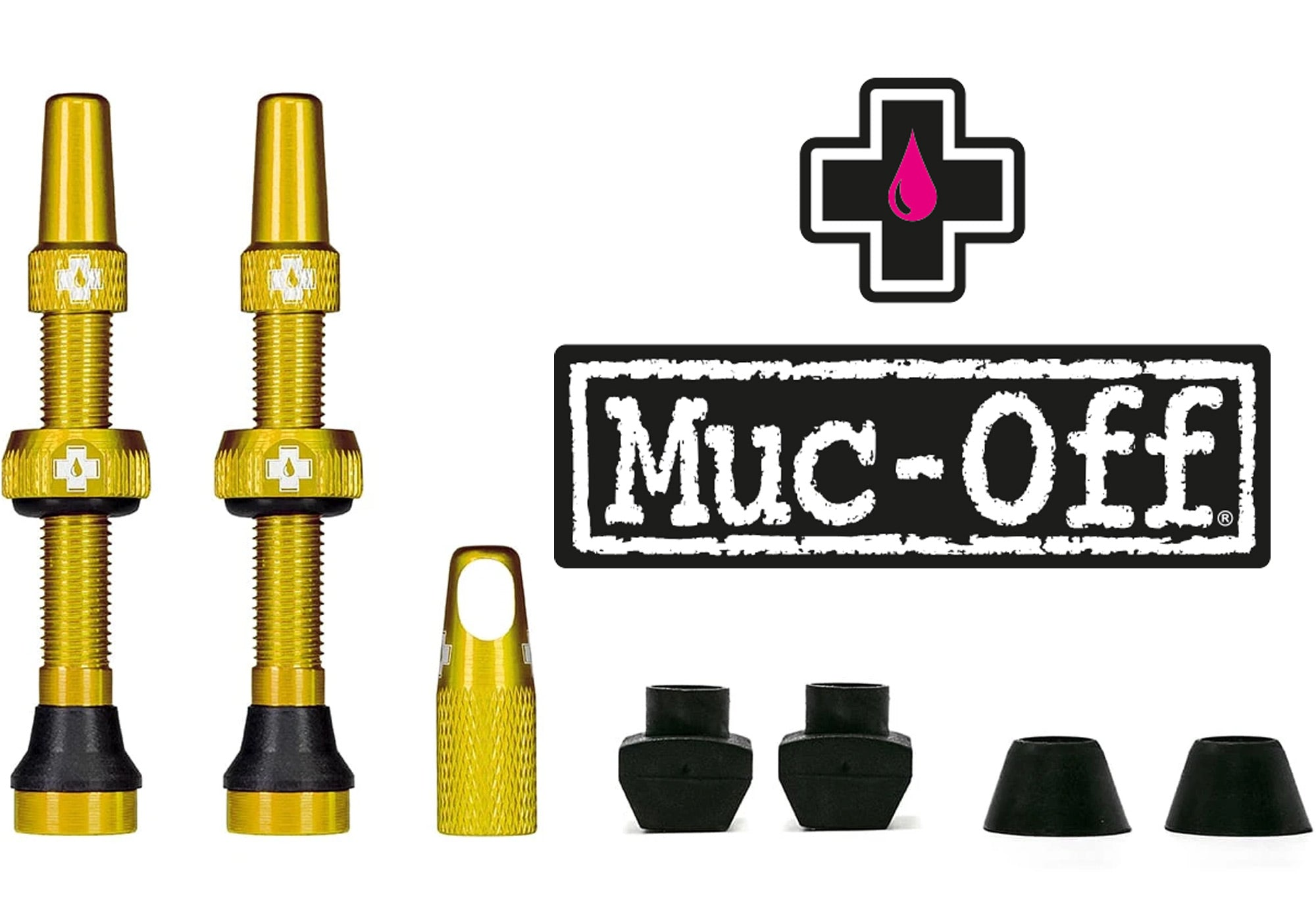 Muc-Off Tubeless Valve Kit 44mm, Gold buy at Woolys Wheels Sydney
