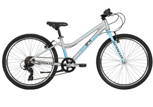 "Neo 24"" 7-Speed Girls Bike, Brushed Alloy/Blue/Charcoal, buy at Woolys Wheels Sydney"