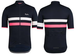Rapha Brevet Mens Jersey Dark Navy/Hi-Viz Pink Woolys Wheels Paddington Sydney