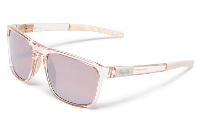 Rapha Classic Sunglasses Pink Transparent/Black Mirror Lens, buy online at Woolys Wheels with free delivery