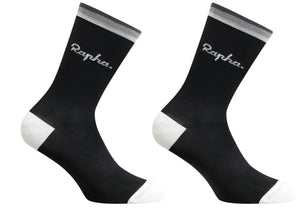 Rapha Mens Logo Socks, Black, Woolys Wheels Sydney